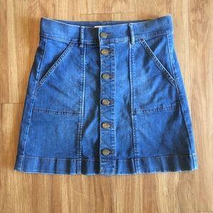 LOFT Jean Skirt Full Button Up